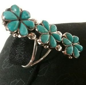 Jewelry - INCREDIBLE TURQUOISE SQUASH BLOSSOM STERLING RING